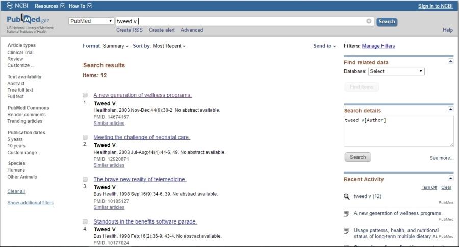 PubMed Vera Tweed